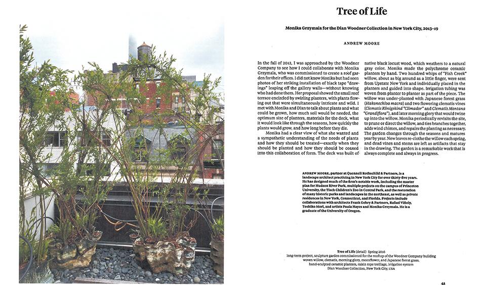 Monika Grzymala's handmade pots are planted with willow