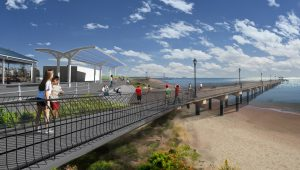The beloved fishing pier will connect via steps and ramps to the new promenade, which will be 5 feet higher than the old boardwalk.