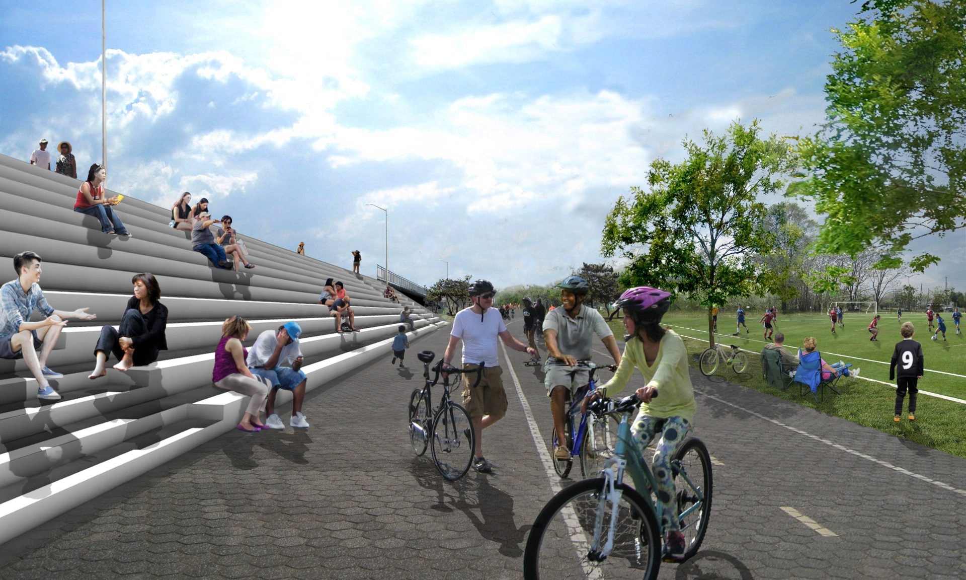 The seawall, a landscape/infrastructure hybrid, will be a social spine providing pedestrian, ADA, and emergency access up and over it.